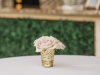 Quicksand Roses in Gold Scalloped Holder on Cocktail Tables