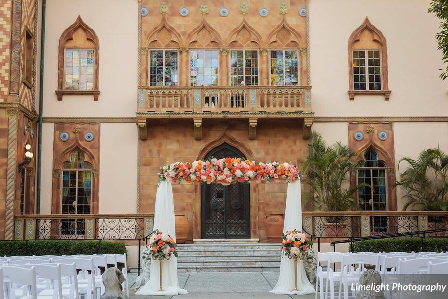 Floral Arch in Corals, Peaches, and Tangerines