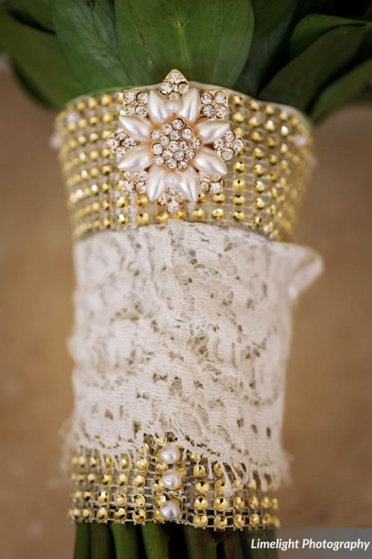 Lace and Pearls on Bridal Bouquet