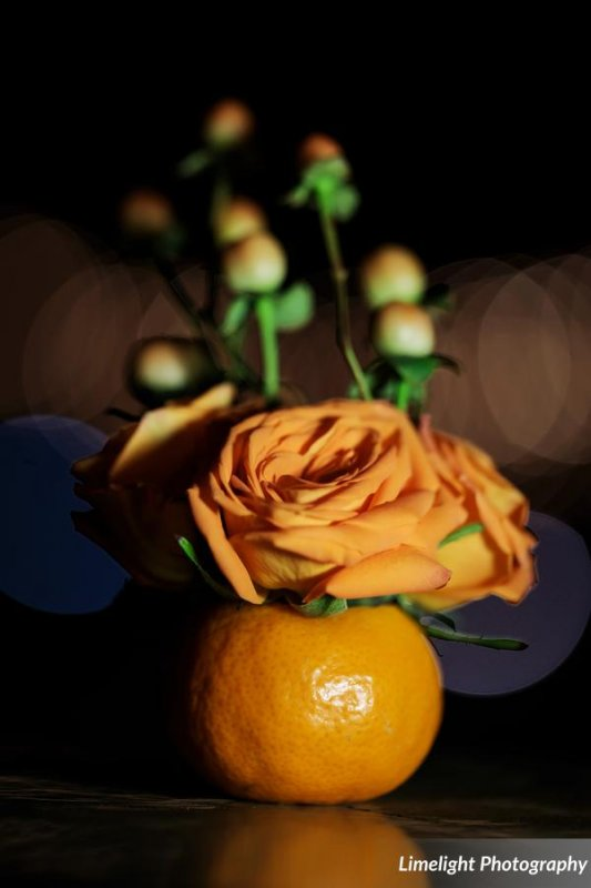 Orange Elements with Flowers for Feasting Tables