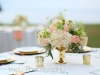 Gold-footed Mercury Bowls with Peach and Cream Flowers
