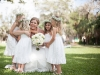 Garden Bridal Bouquet and Flower Girls with Baby's Breath Wreath