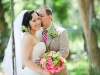 Powel Crosley Estate, bride and groom with bridal bouquet