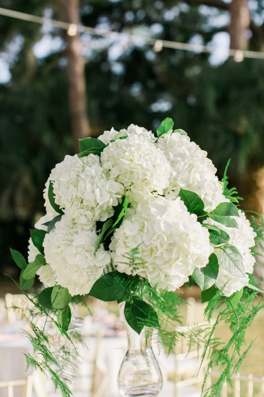Elevated Table Centerpiece with Greens and Hydrangea