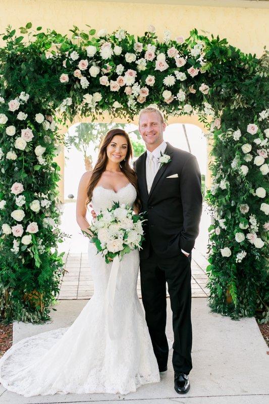 Wedding Garden Arch with Bride and Groom
