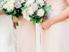 Blush Quicksand Playa Blanca Roses with Green Bridesmaids Bouquets