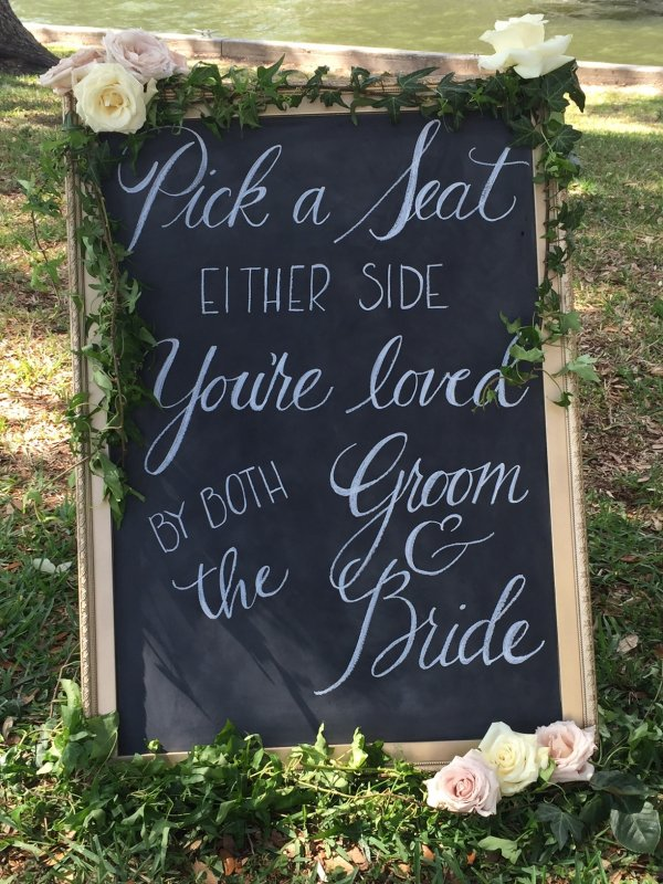 Welcome Sign with Greens and Florals