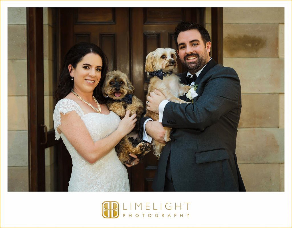 Bride and Groom with Ring Dogs!