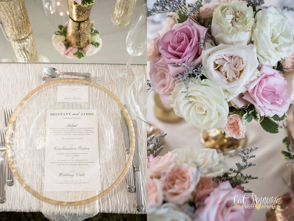 Low Centerpiece in Gold Footed Bowl of Pink and White Flowers