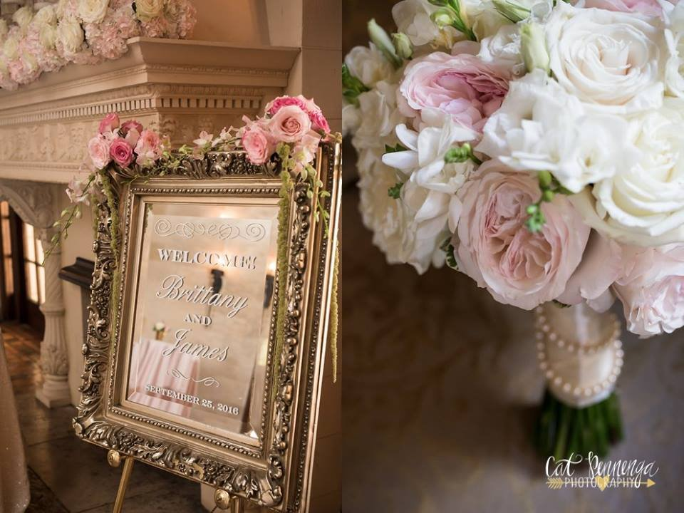 Mantle and Bridal Bouquet with Welcome Sign