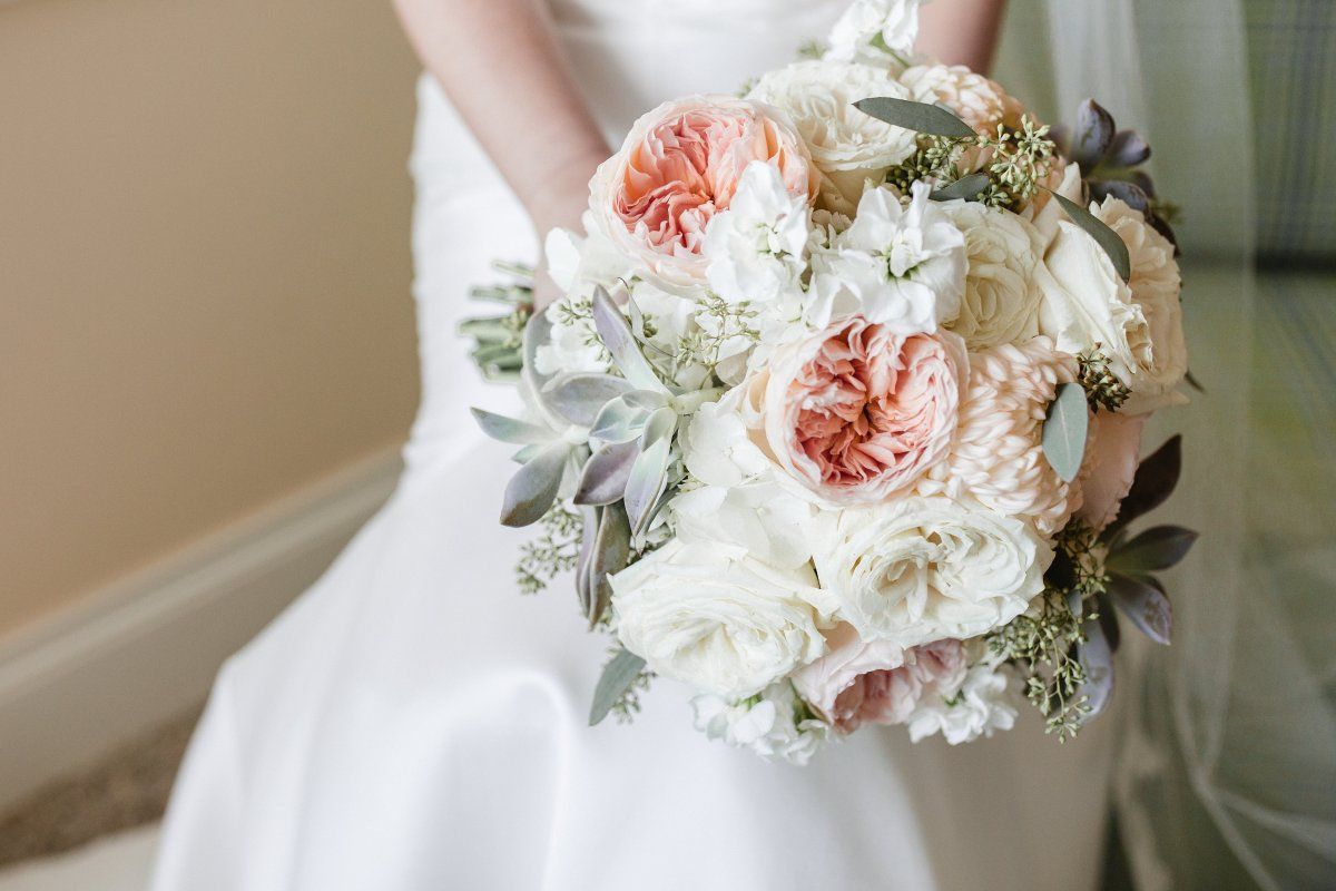 Bridal Bouquet with Juliette Garden Roses and Succulents