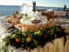 Weddign Reception Ice Sculpture with fruit and flower decor