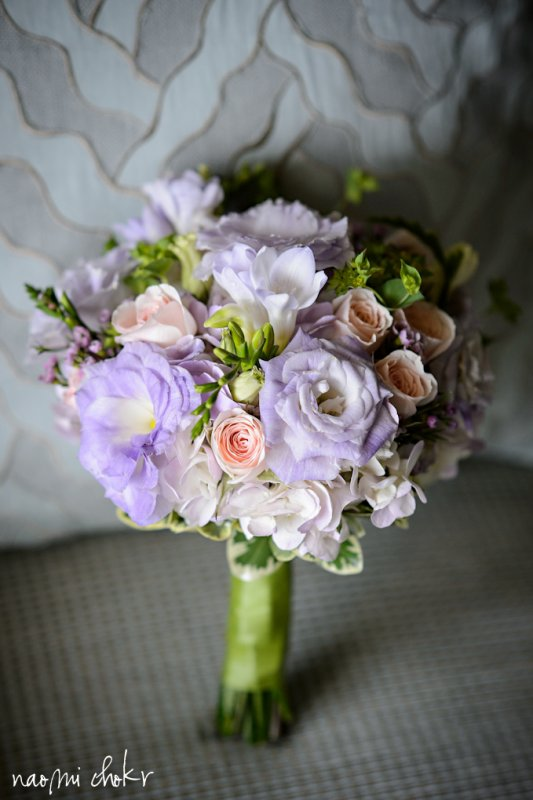 Bridesmaids bouque in pink and lavendar, destination wedding Ritz Carlton Sarasota