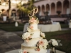 Gorgeous Wedding Cake with Blush and Peach Flowers by Cakes by Ron