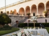 Blush and Light Peach Guest Table Centerpieces in Ringling Courtyard