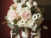 Pink Mondial Roses Shimmer Roses Nested into Hydrangea White Lisianthus and Silver Dollar Eucalyptus