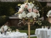 Elevated Guest Table Centerpiece on Gold Candelabra with Blush, Cream, and Peach Garden-Look Flowers