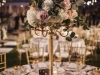 Gold Candelabra with Blush and Cream Roses Guest Table Centerpiece