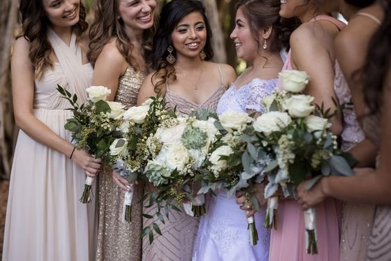 Bridal Party With Bouquets