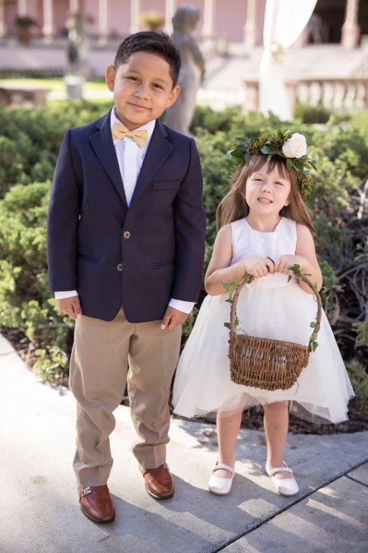 Flower Girl with Rose Hair Wreath and Ring Bearer