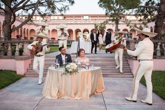 Sweetheart Table with Band in Courtyard