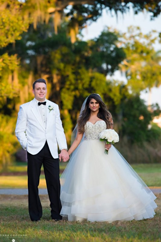 Bride and Groom with Bridal Bouquet and Boutonniere