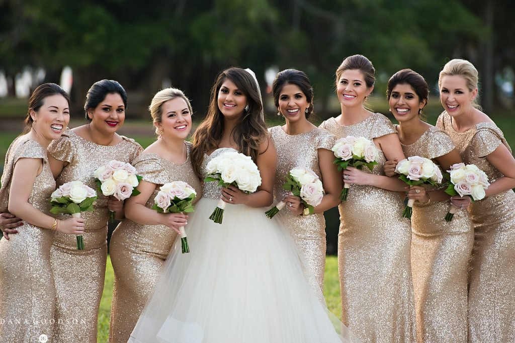 Bridal Party with Quick Sand and Cream Roses
