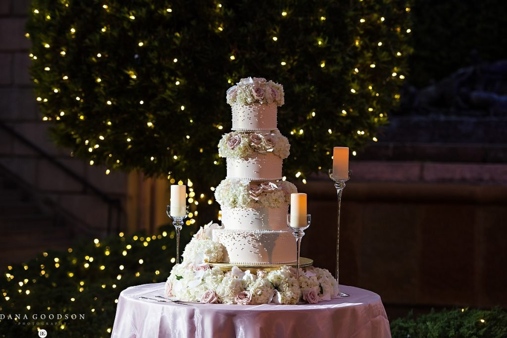 Wedding Cake with lots of roses and hydrangeas