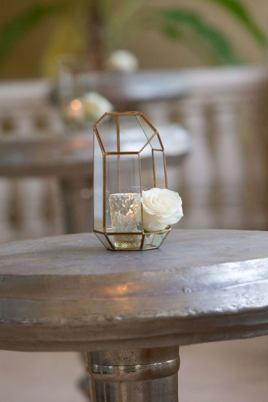 Hi Top Table Arrangement of Gold Geometric Container with  Votive and Open Rose