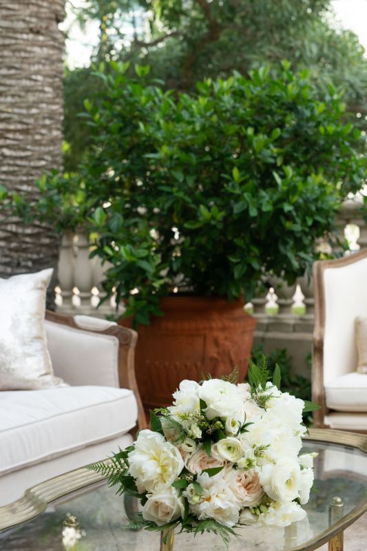 Gorgeous All-White Garden Look Bouquet on Table