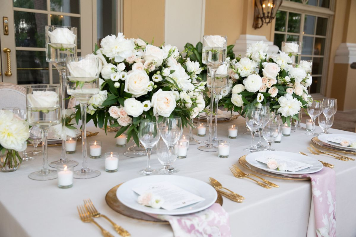 Feasting Table in Blush and White with Candles