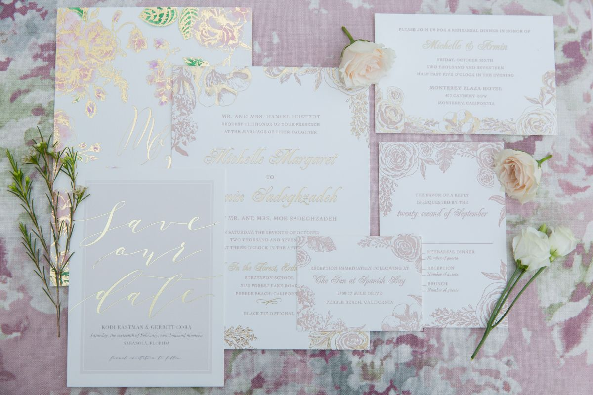 Invites and Printed Wedding Items in Blush