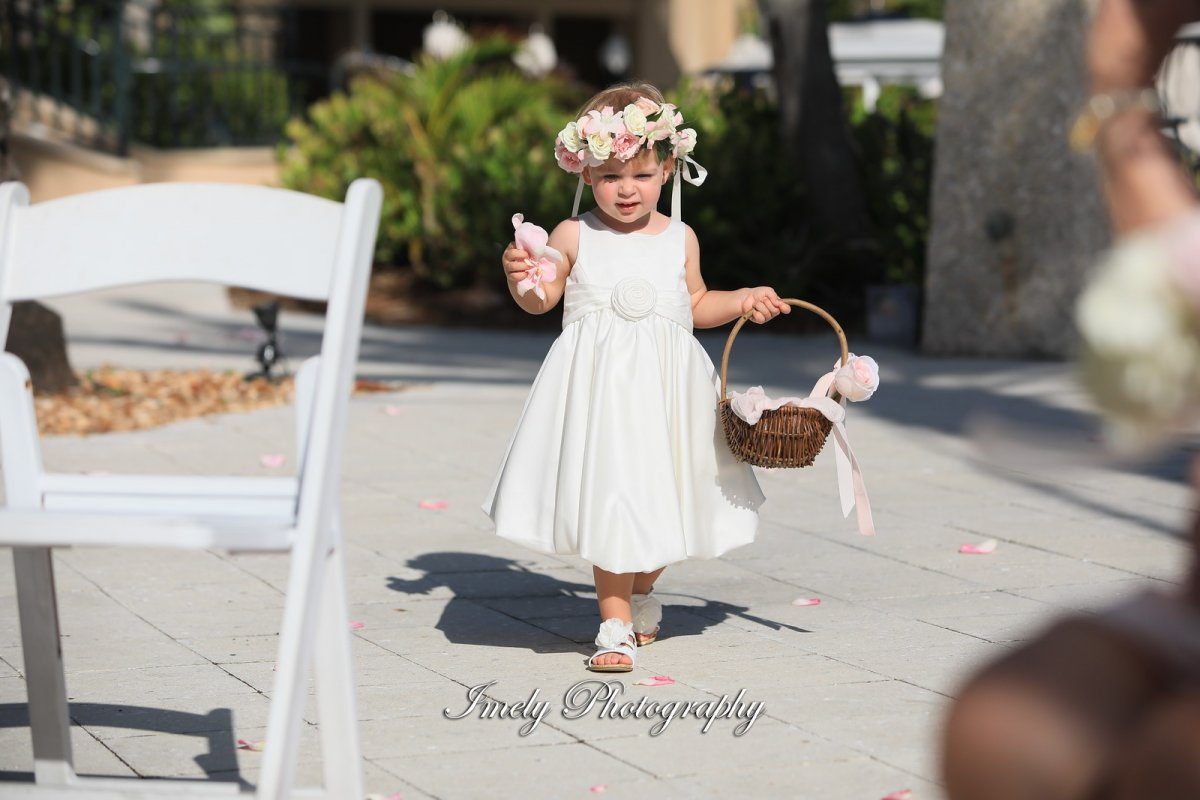 Adorable Flower Girl with Rose Petals and Halo of Roses