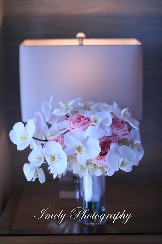 Bridal Bouquet of Blush Hydrangea Pink O'Hara Garden Roses with Phalaenopsis Orchids