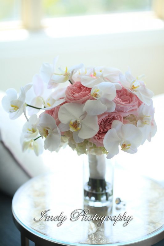 Bridal Bouquet with Pink and Cream Tones Orchids and Garden Roses