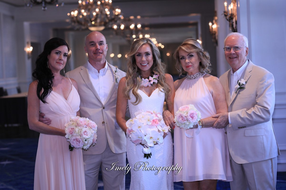 Bride, Mom, Maid of Honor, Dad, and Brother with Flowers in Pink and Blush