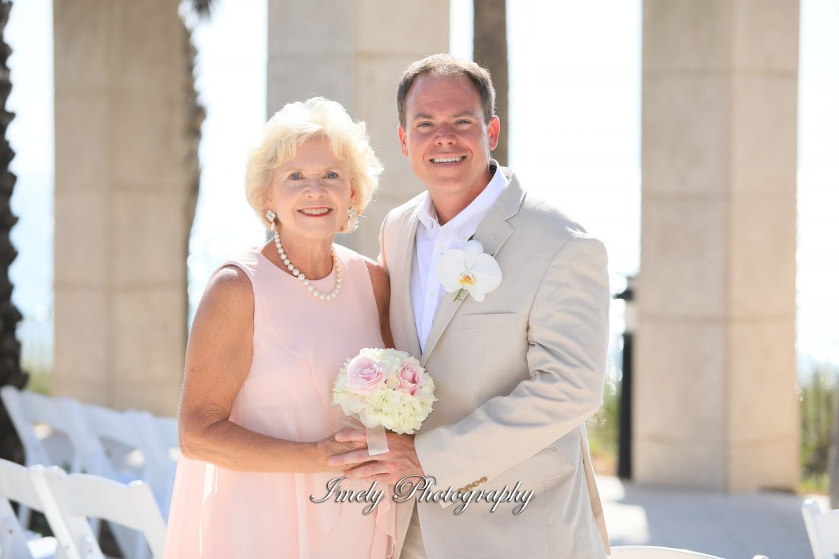 Groom and Mom with Small Bouquet