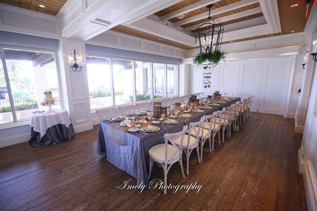 Seaglass Room at Ritz Carlton Beach Club Long Feasting Table
