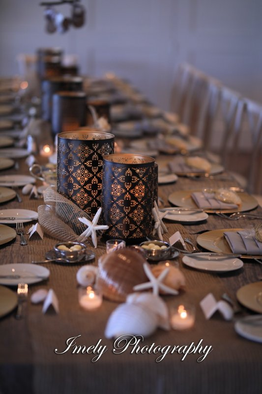 Shells and Candles for Table