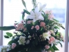 White Lilies Snapdragons Mini Carnations Spray Roses Ceremony Moved to Bar