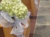 hydrangea-on-pew-for wedding