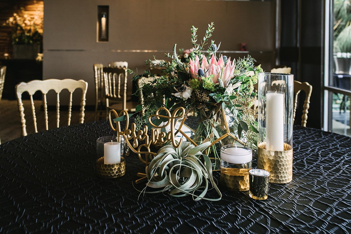 Reception Table Centerpiece with Candles