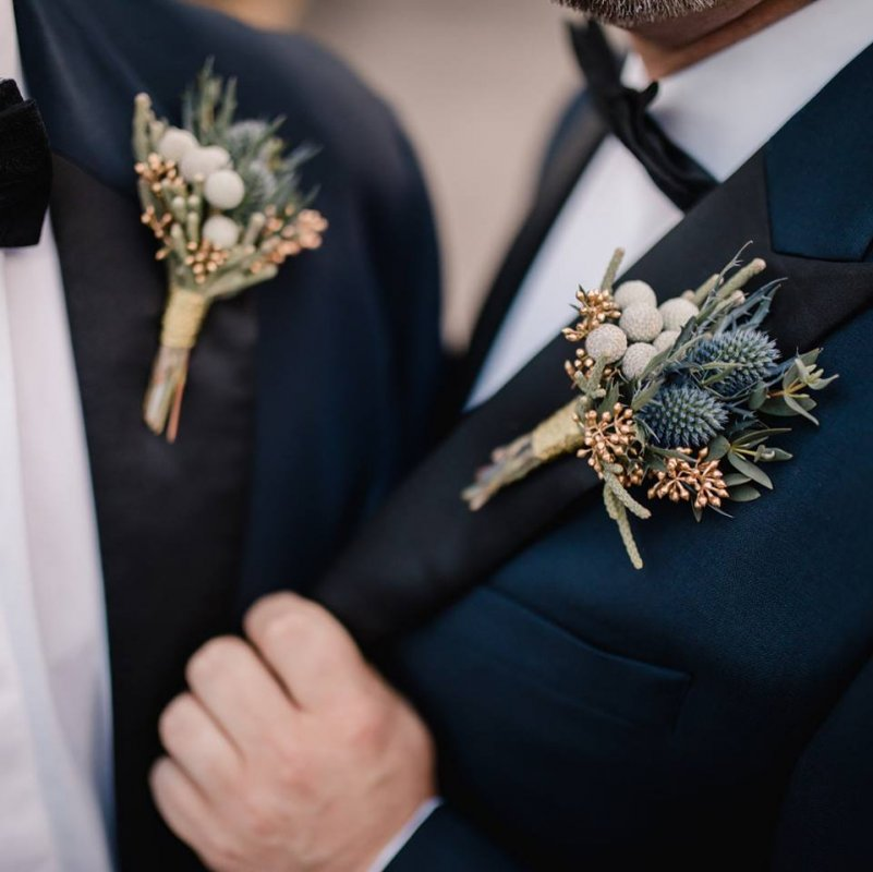 Close Up of Elegant Grooms Boutonniere