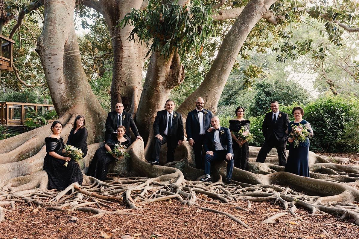 Wedding Party Posing at The Banyan Tree