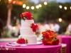 Bright Flowers on Wedding Cake
