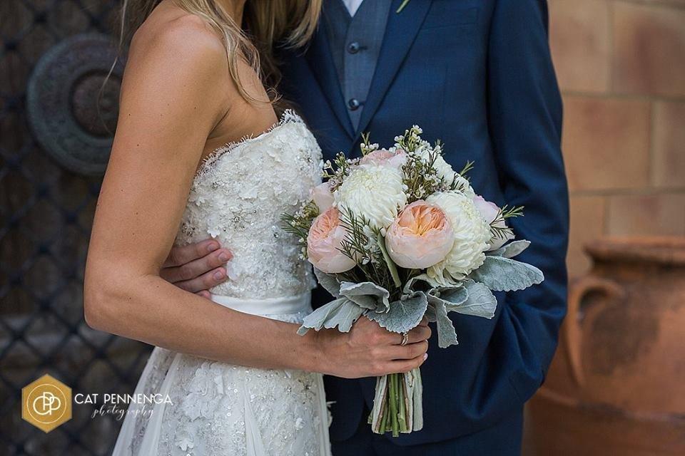 Bridal Bouquet of Juliette Garden Roses, Mums, Dusty Miller