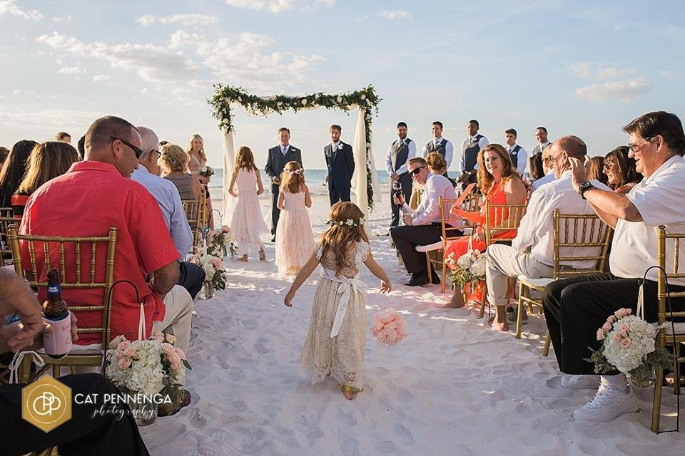 Ceremony on the Beach with Arch