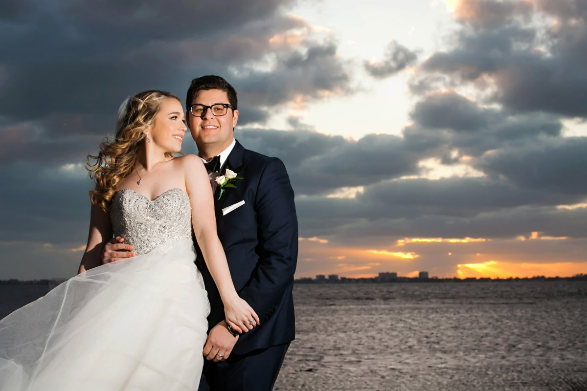Beautiful Sunset Picture with Bride and Groom