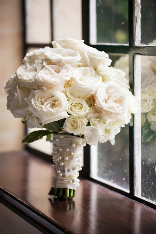 All White Roses Bridal Bouquet