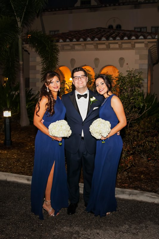 Bridesmaids in Blue with All White Bouquets